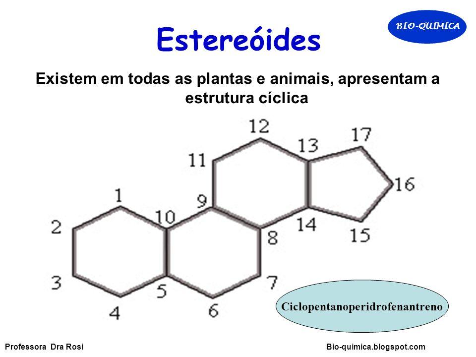 Estereóides BIO-QUIMICA. Existem em todas as plantas e animais, apresentam a estrutura cíclica. Ciclopentanoperidrofenantreno.