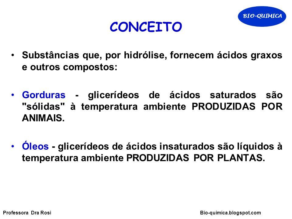 BIO-QUIMICA CONCEITO. Substâncias que, por hidrólise, fornecem ácidos graxos e outros compostos: