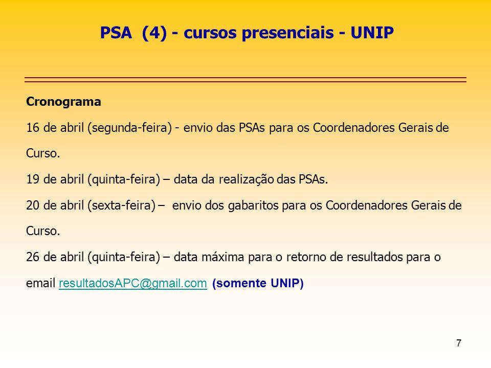 PSA (4) - cursos presenciais - UNIP