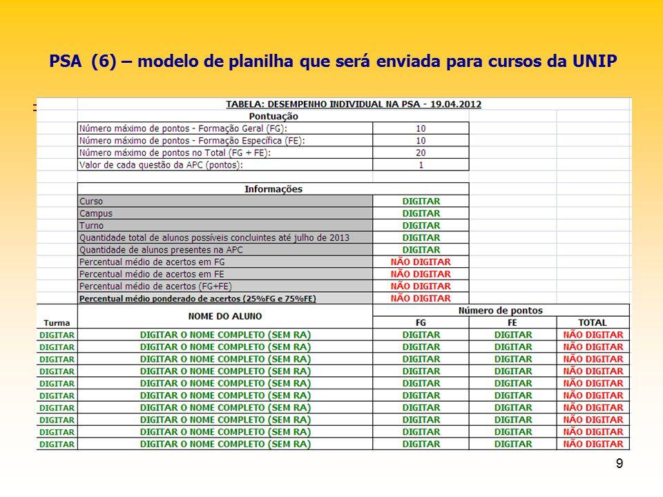 PSA (6) – modelo de planilha que será enviada para cursos da UNIP
