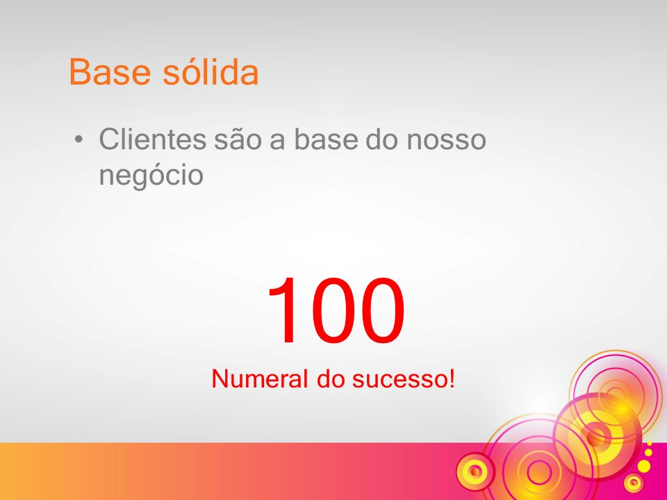 100 Numeral do sucesso! Base sólida