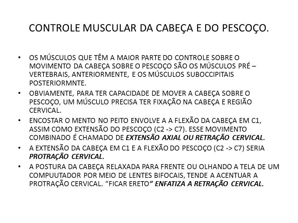 CONTROLE MUSCULAR DA CABEÇA E DO PESCOÇO.