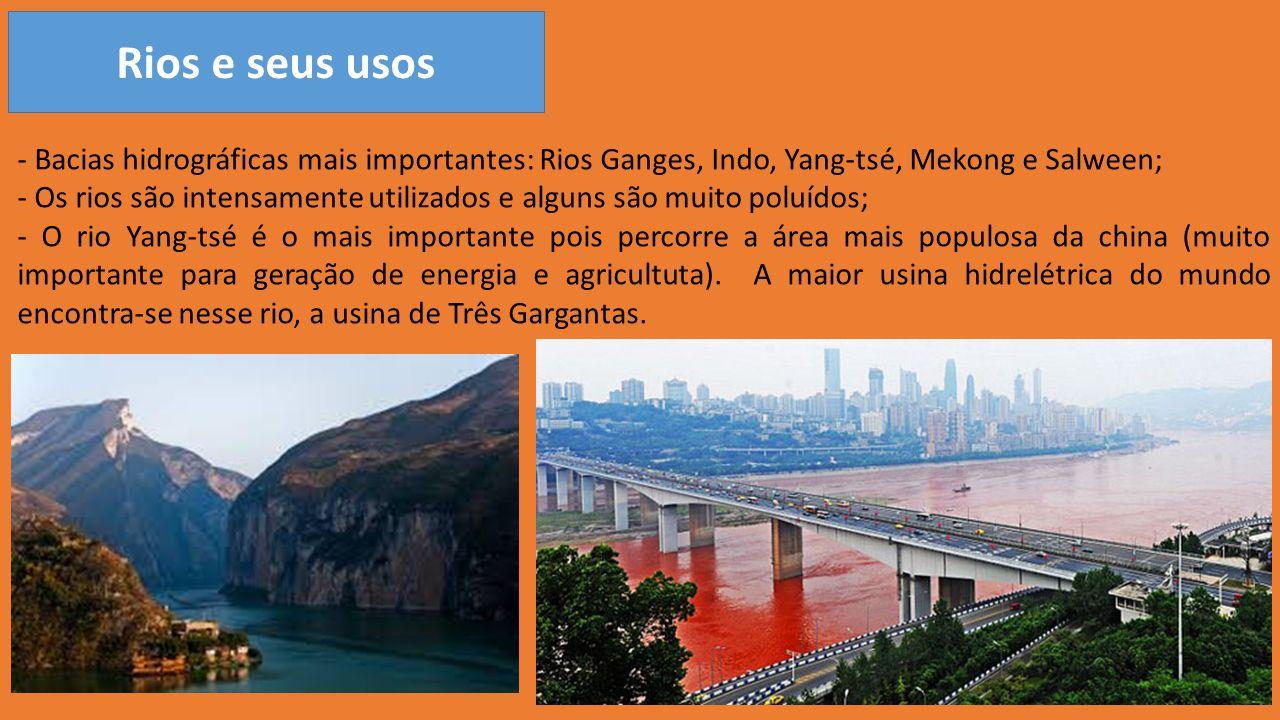 Rios e seus usos - Bacias hidrográficas mais importantes: Rios Ganges, Indo, Yang-tsé, Mekong e Salween;