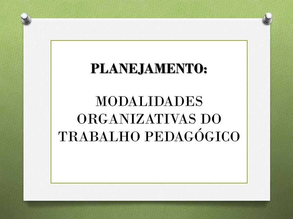 MODALIDADES ORGANIZATIVAS DO TRABALHO PEDAGÓGICO