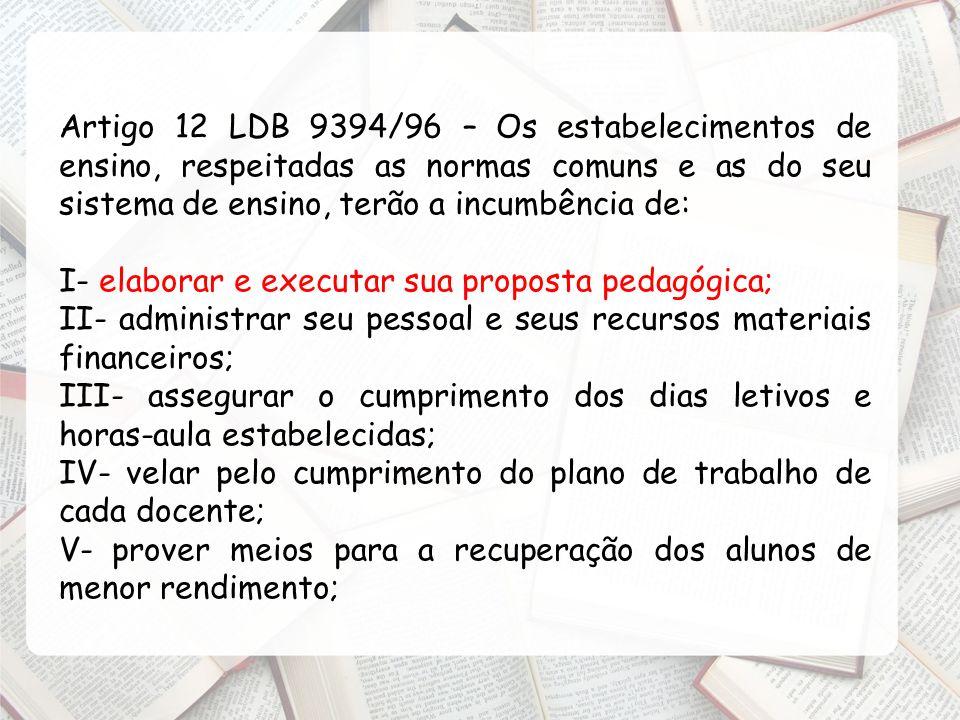 Artigo 12 LDB 9394/96 – Os estabelecimentos de ensino, respeitadas as normas comuns e as do seu sistema de ensino, terão a incumbência de:
