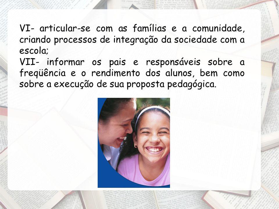 VI- articular-se com as famílias e a comunidade, criando processos de integração da sociedade com a escola;