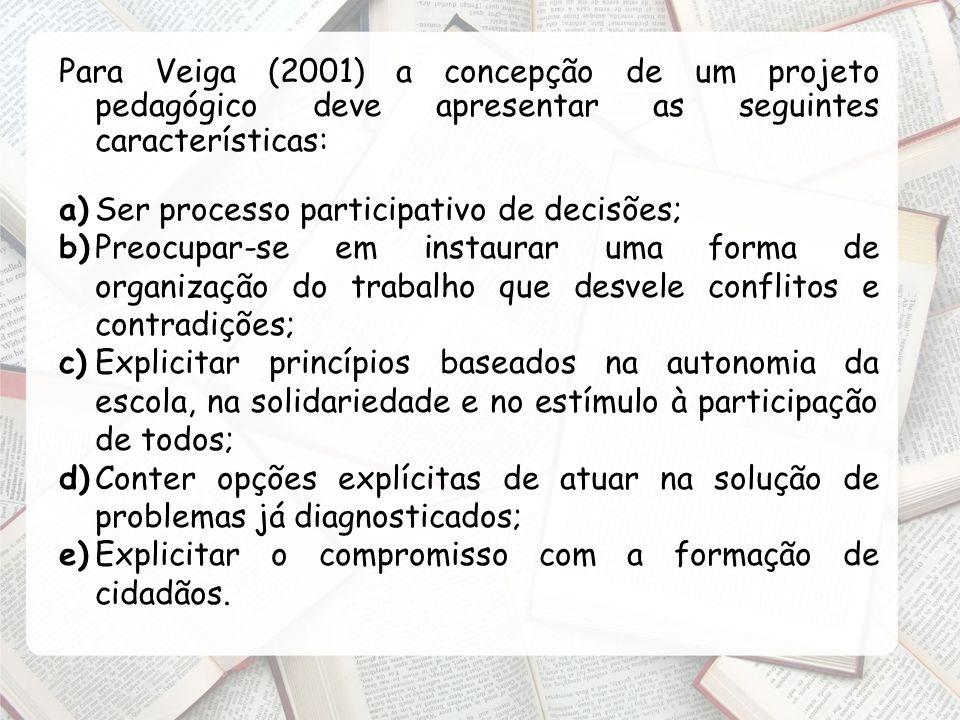 Para Veiga (2001) a concepção de um projeto pedagógico deve apresentar as seguintes características: