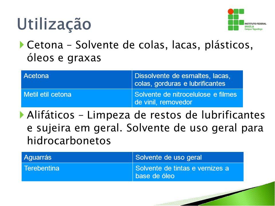 Utilização Cetona – Solvente de colas, lacas, plásticos, óleos e graxas.