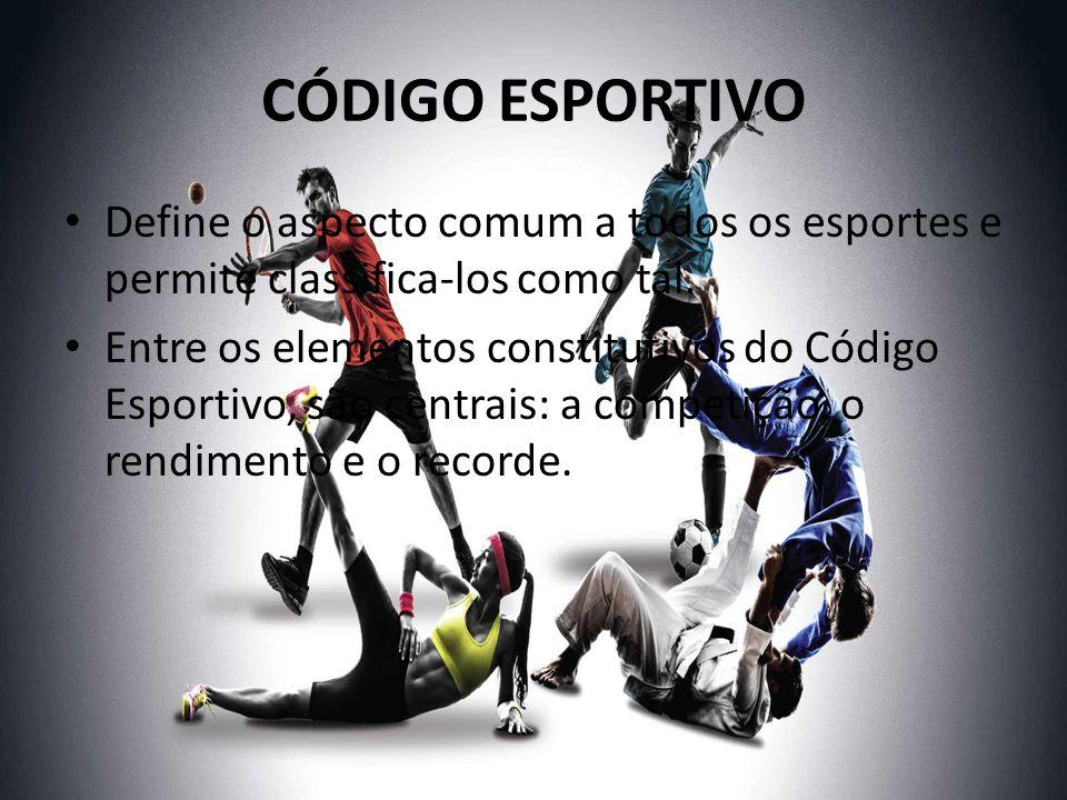 CÓDIGO ESPORTIVO Define o aspecto comum a todos os esportes e permite classifica-los como tal.