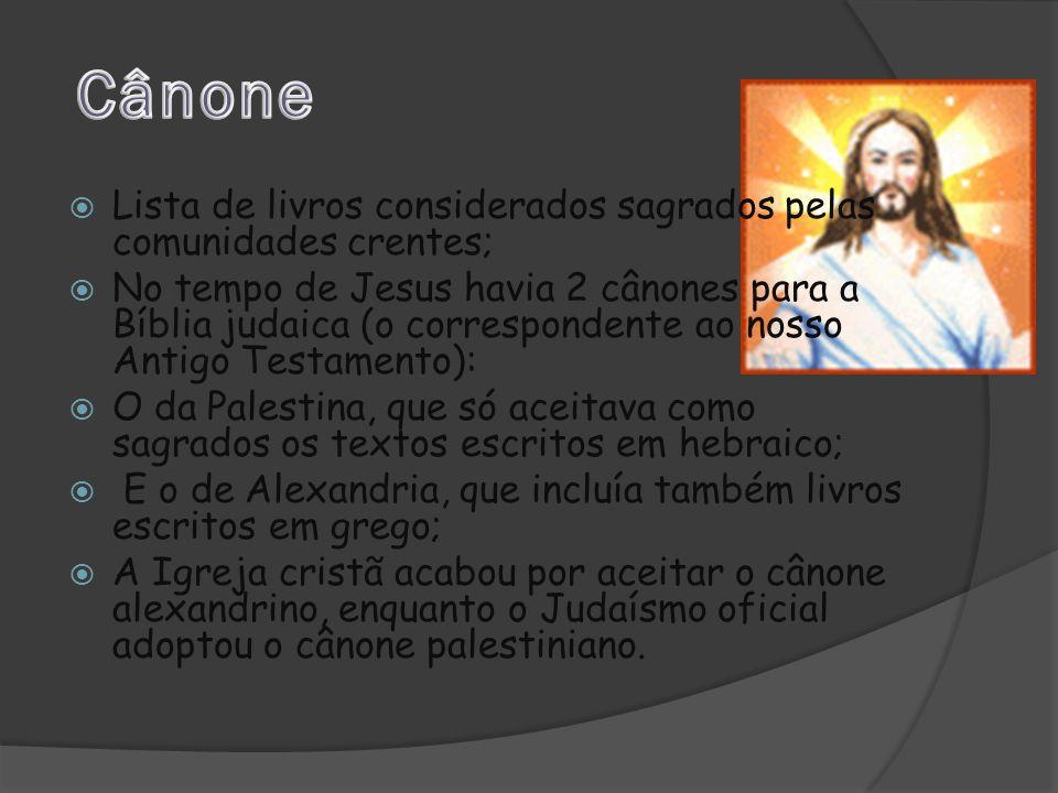 Cânone Lista de livros considerados sagrados pelas comunidades crentes;