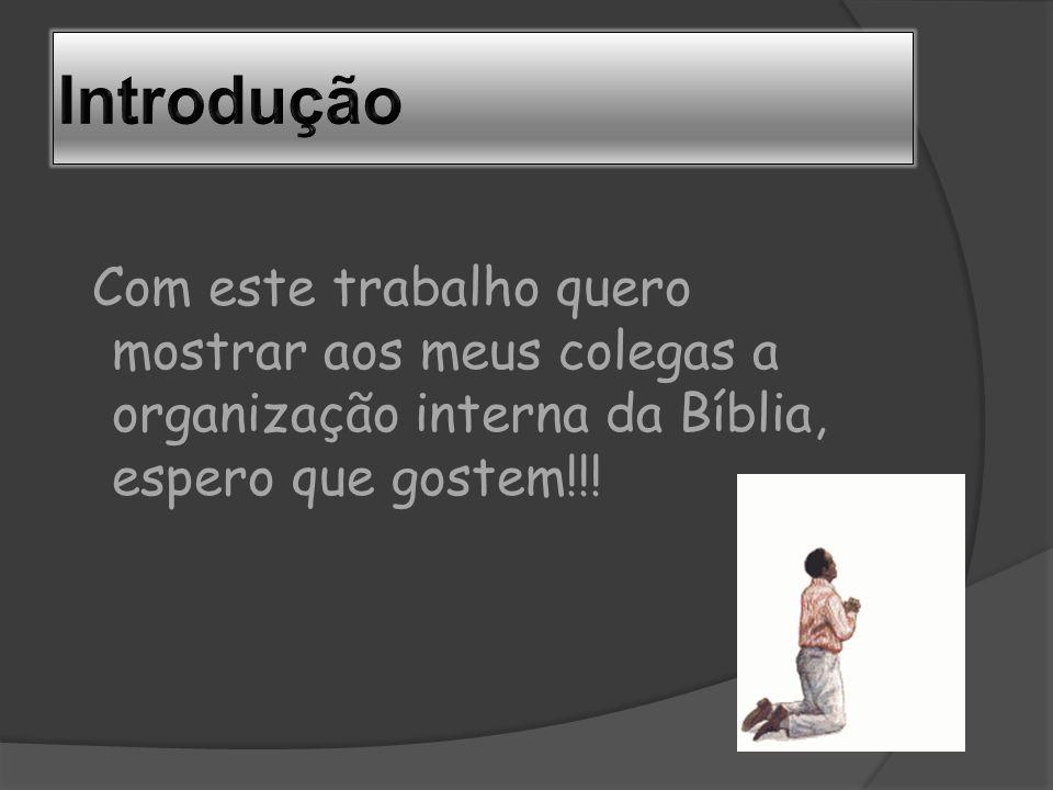 Introdução Com este trabalho quero mostrar aos meus colegas a organização interna da Bíblia, espero que gostem!!!