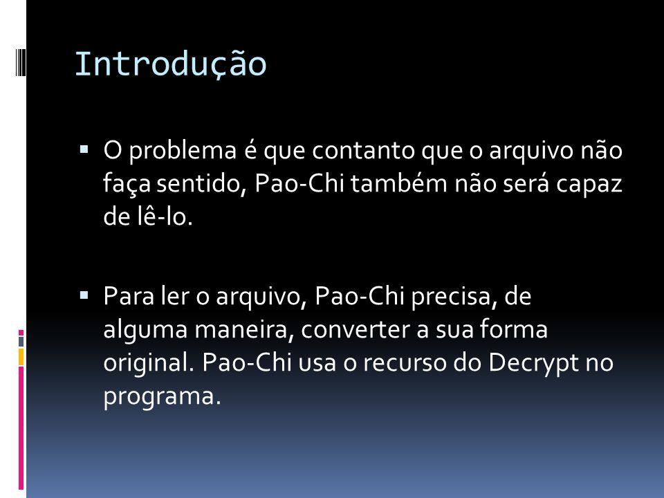 Introdução O problema é que contanto que o arquivo não faça sentido, Pao-Chi também não será capaz de lê-lo.
