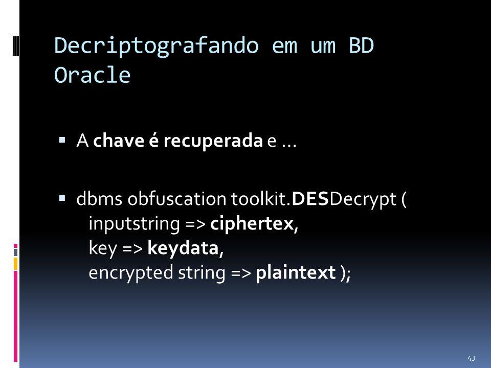 Decriptografando em um BD Oracle