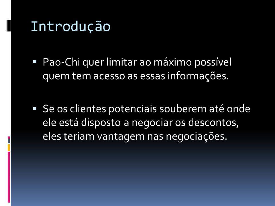 Introdução Pao-Chi quer limitar ao máximo possível quem tem acesso as essas informações.