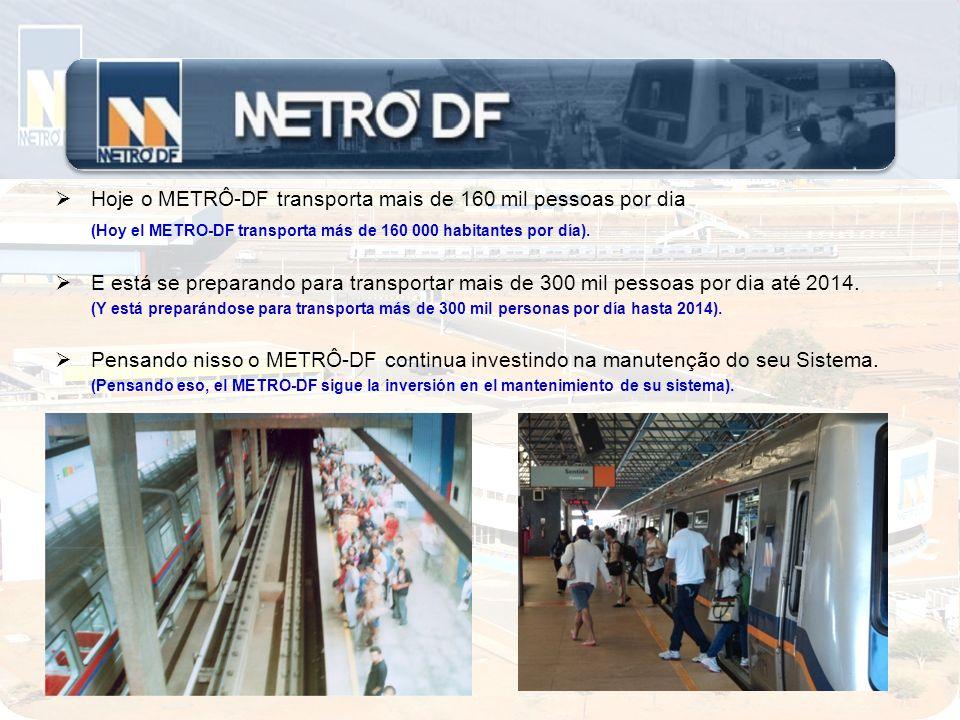 Hoje o METRÔ-DF transporta mais de 160 mil pessoas por dia