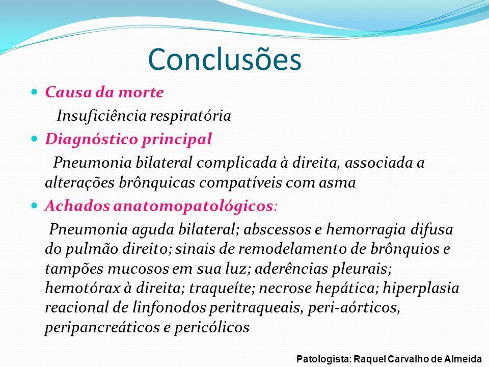 Conclusões Causa da morte Insuficiência respiratória