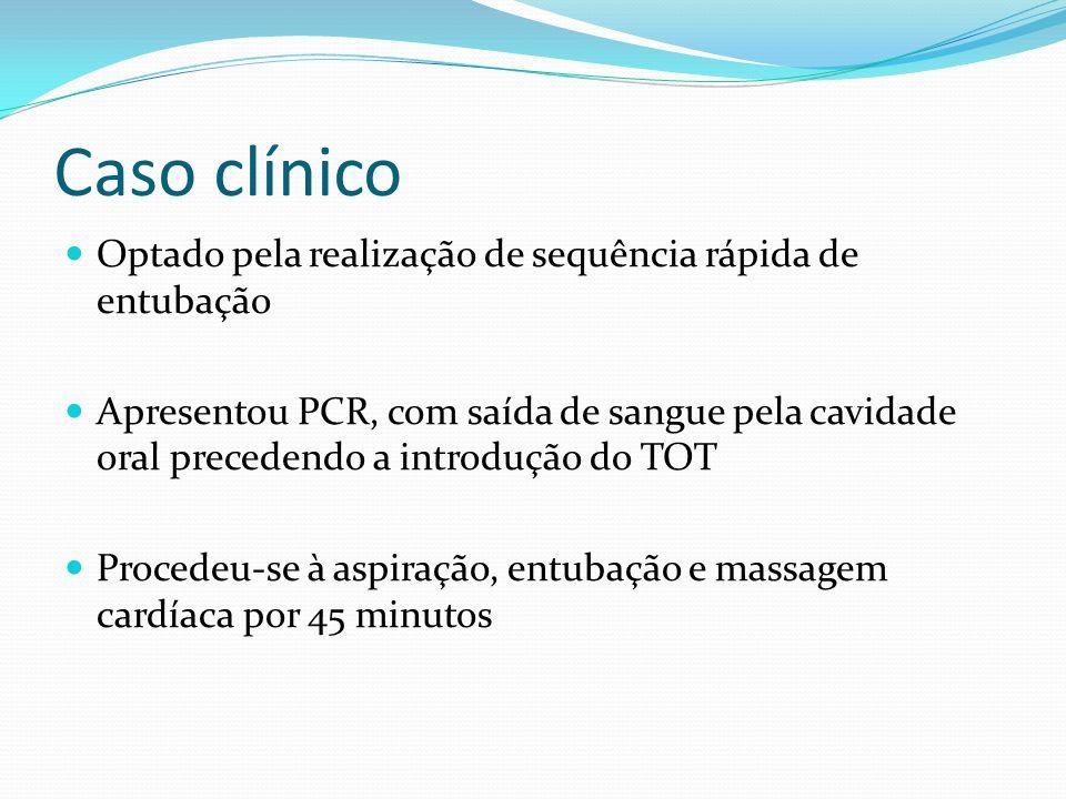 Caso clínico Optado pela realização de sequência rápida de entubação