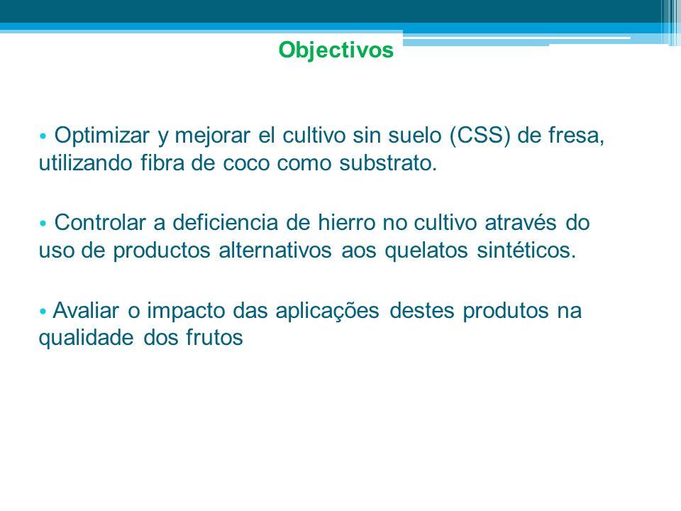 ObjectivosOptimizar y mejorar el cultivo sin suelo (CSS) de fresa, utilizando fibra de coco como substrato.