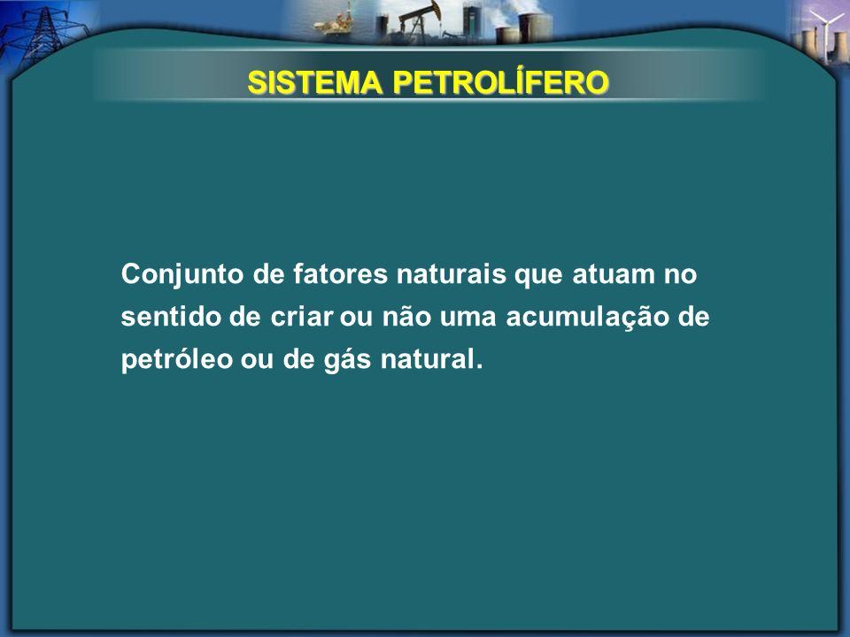 SISTEMA PETROLÍFERO Conjunto de fatores naturais que atuam no sentido de criar ou não uma acumulação de petróleo ou de gás natural.