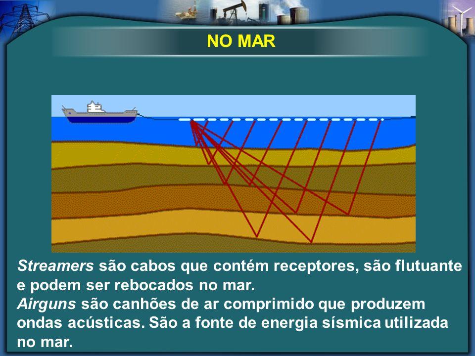 NO MAR Streamers são cabos que contém receptores, são flutuante