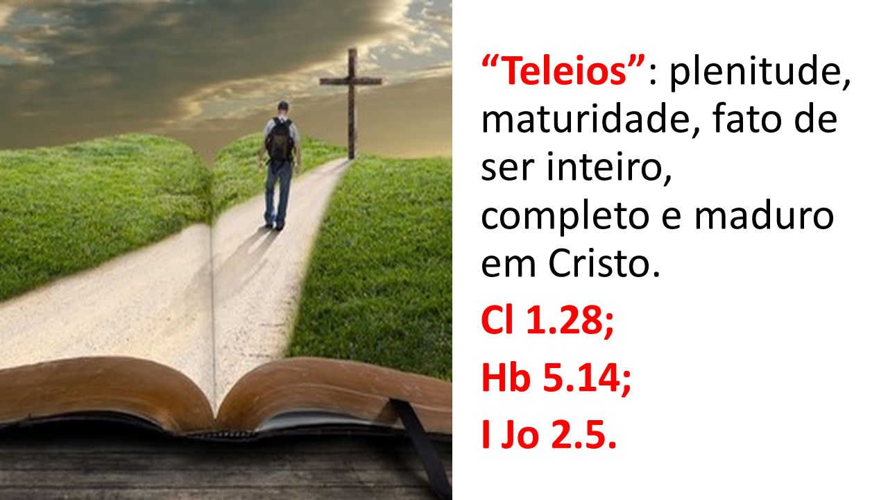 Teleios : plenitude, maturidade, fato de ser inteiro, completo e maduro em Cristo.