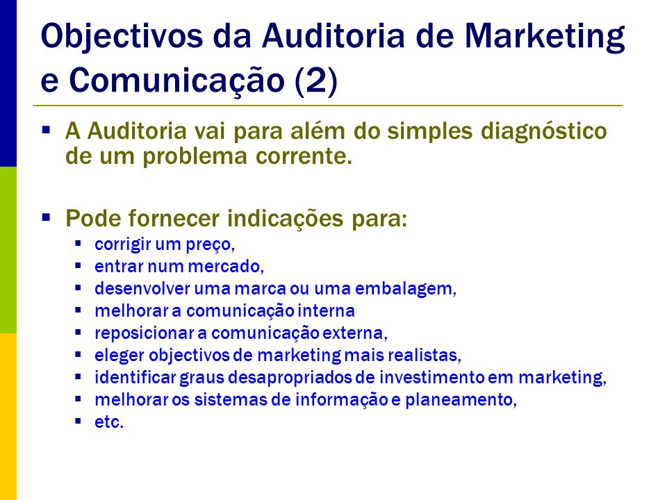 Objectivos da Auditoria de Marketing e Comunicação (2)