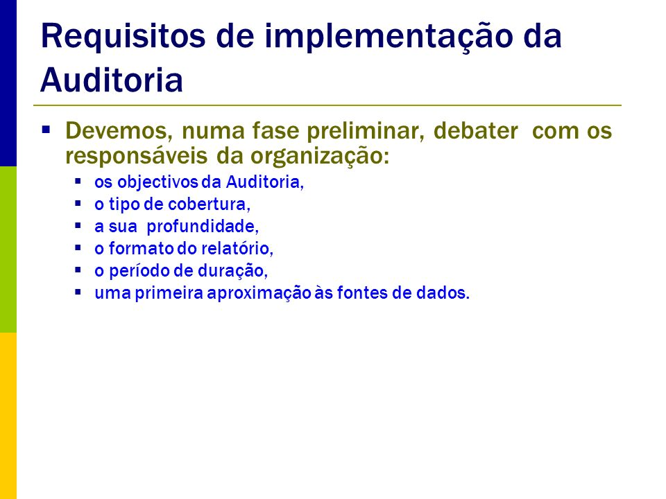 Requisitos de implementação da Auditoria