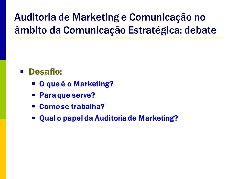 Auditoria de Marketing e Comunicação no âmbito da Comunicação Estratégica: debate