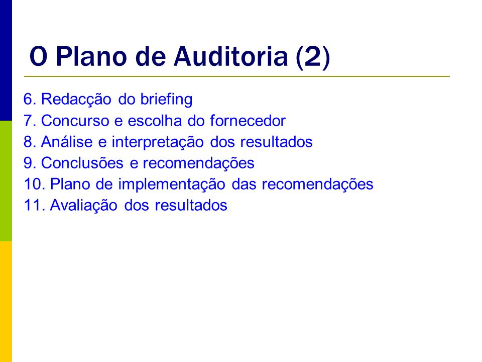 O Plano de Auditoria (2) 6. Redacção do briefing