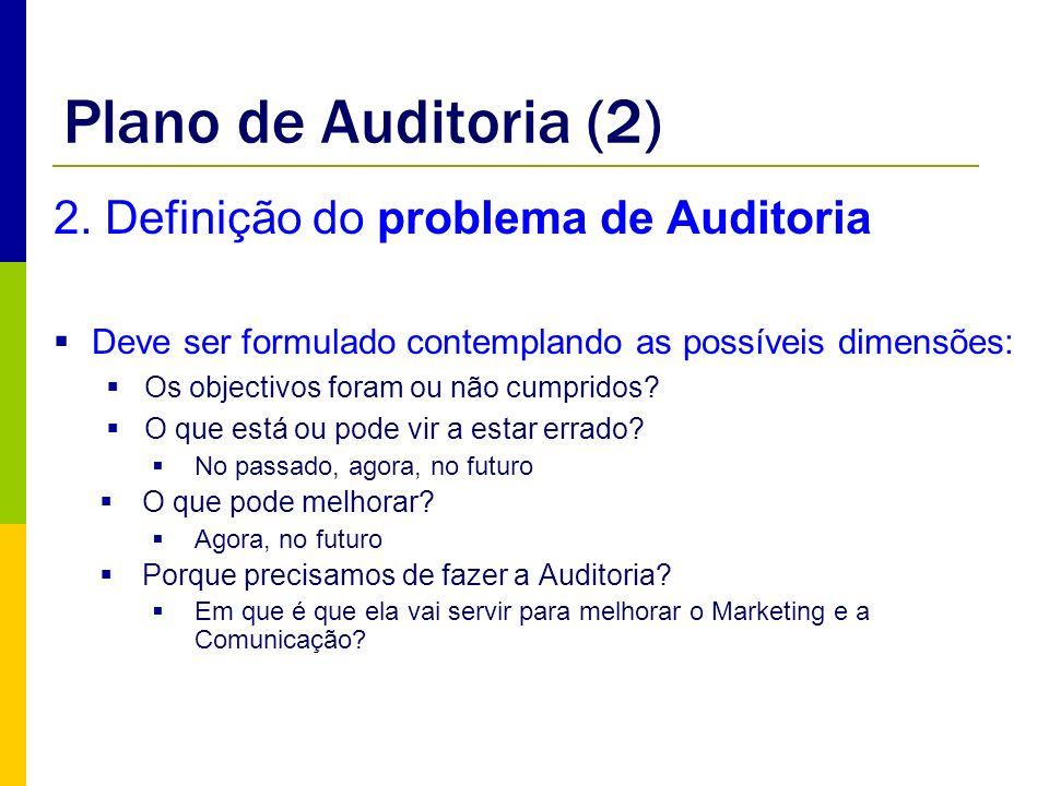 Plano de Auditoria (2) 2. Definição do problema de Auditoria