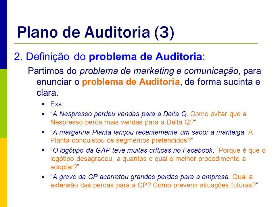 Plano de Auditoria (3) 2. Definição do problema de Auditoria: