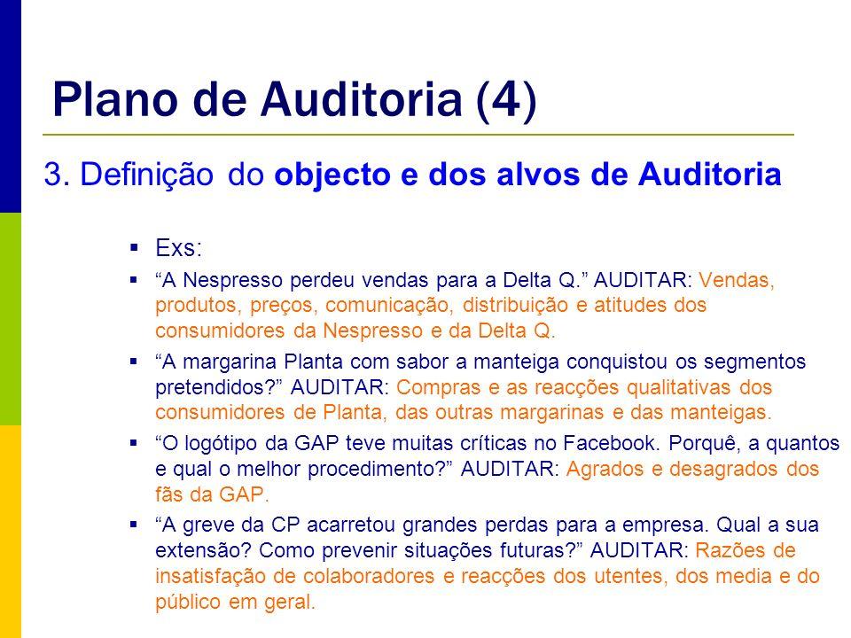 Plano de Auditoria (4) 3. Definição do objecto e dos alvos de Auditoria. Exs:
