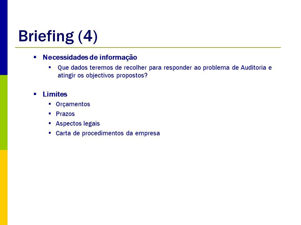 Briefing (4) Necessidades de informação Limites