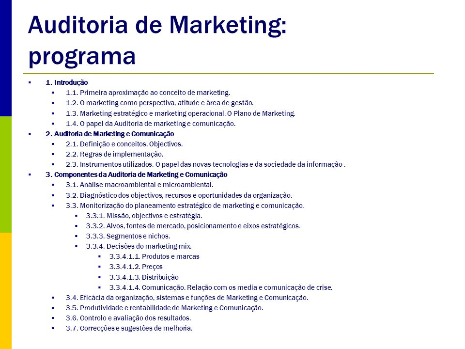Auditoria de Marketing: programa
