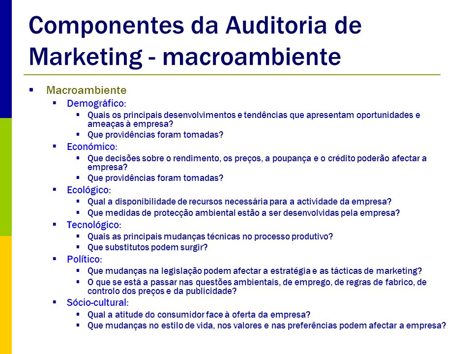Componentes da Auditoria de Marketing - macroambiente