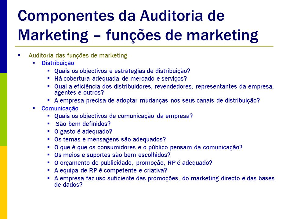 Componentes da Auditoria de Marketing – funções de marketing
