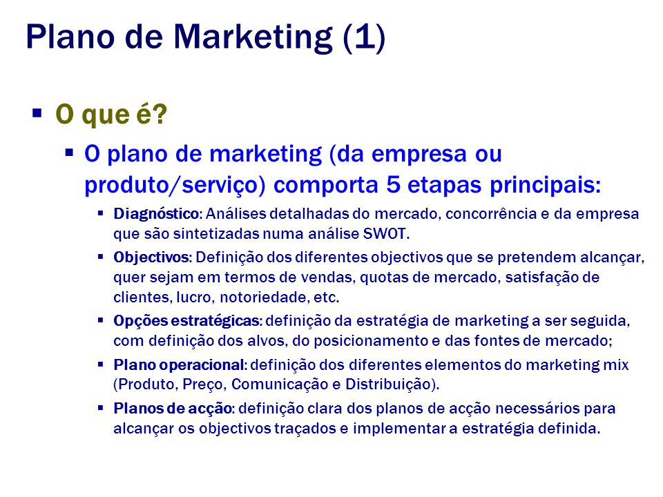 Plano de Marketing (1) O que é