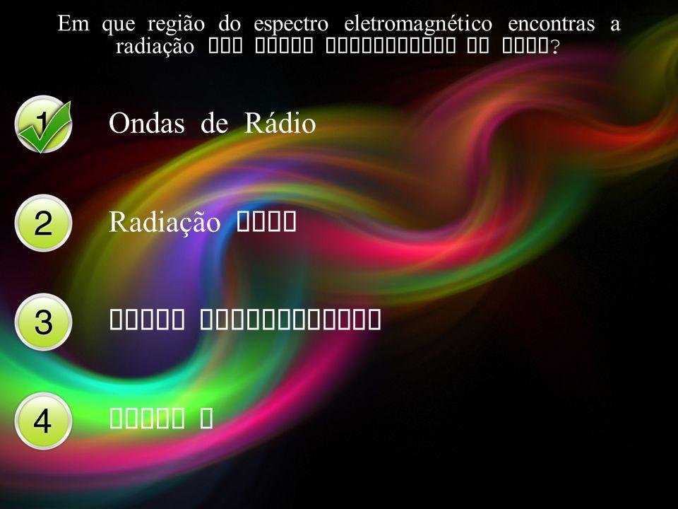 Ondas de Rádio Radiação Gama Raios Ultravioleta Raios X