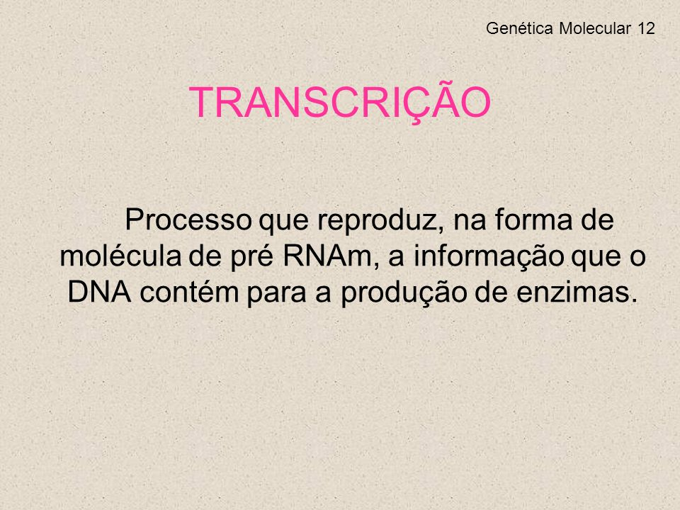 TRANSCRIÇÃO Genética Molecular 12.