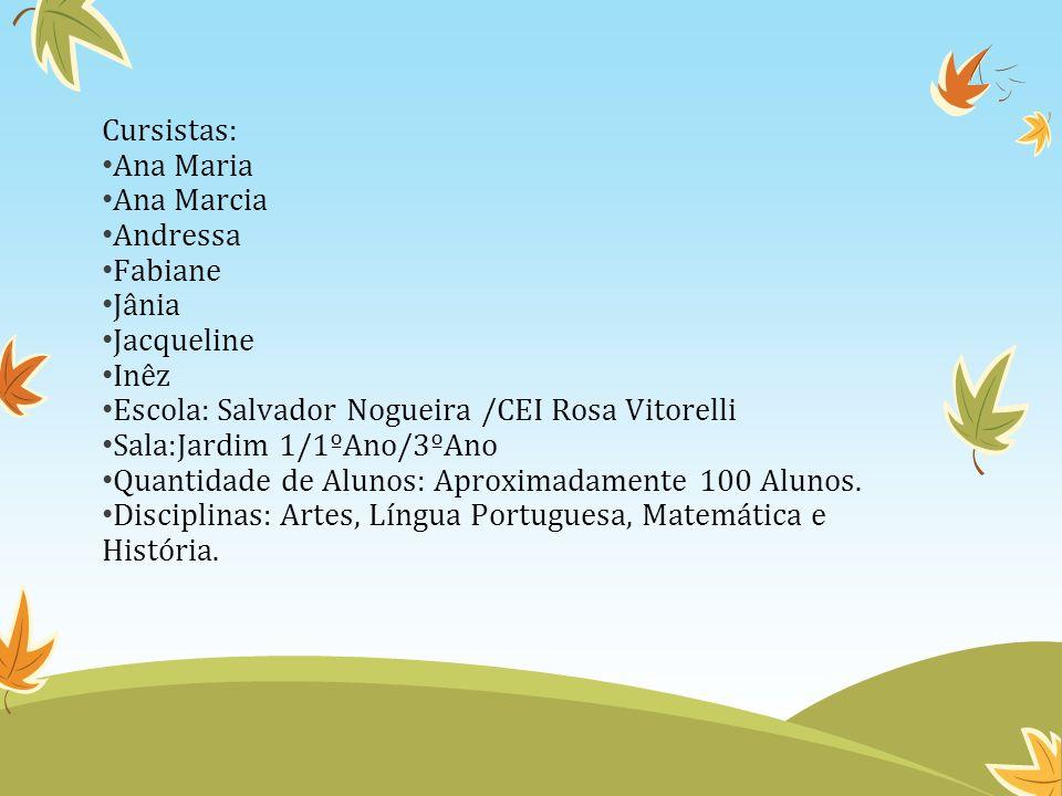 Cursistas: Ana Maria. Ana Marcia. Andressa. Fabiane. Jânia. Jacqueline. Inêz. Escola: Salvador Nogueira /CEI Rosa Vitorelli.