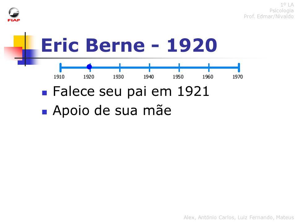 Eric Berne - 1920 Falece seu pai em 1921 Apoio de sua mãe 1º LA