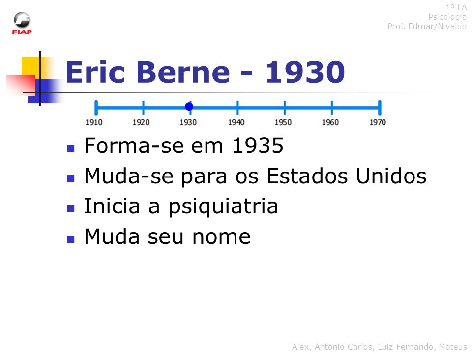 Eric Berne - 1930 Forma-se em 1935 Muda-se para os Estados Unidos