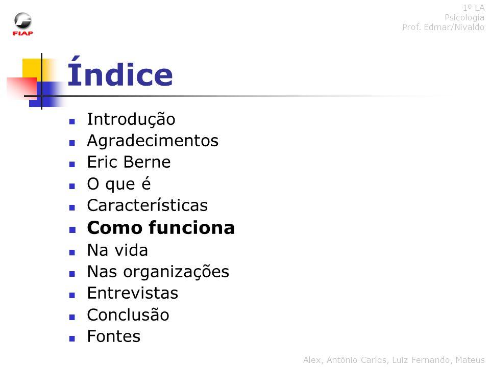 Índice Como funciona Introdução Agradecimentos Eric Berne O que é