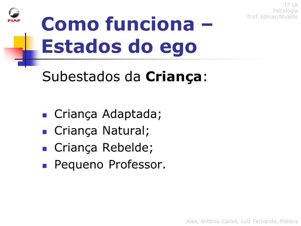 Como funciona – Estados do ego