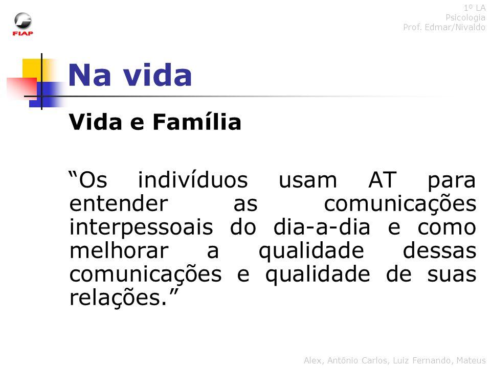 1º LA Psicologia. Prof. Edmar/Nivaldo. Na vida. Vida e Família.