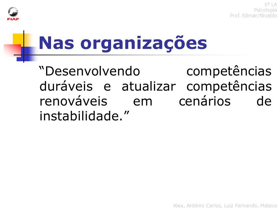 1º LA Psicologia. Prof. Edmar/Nivaldo. Nas organizações.