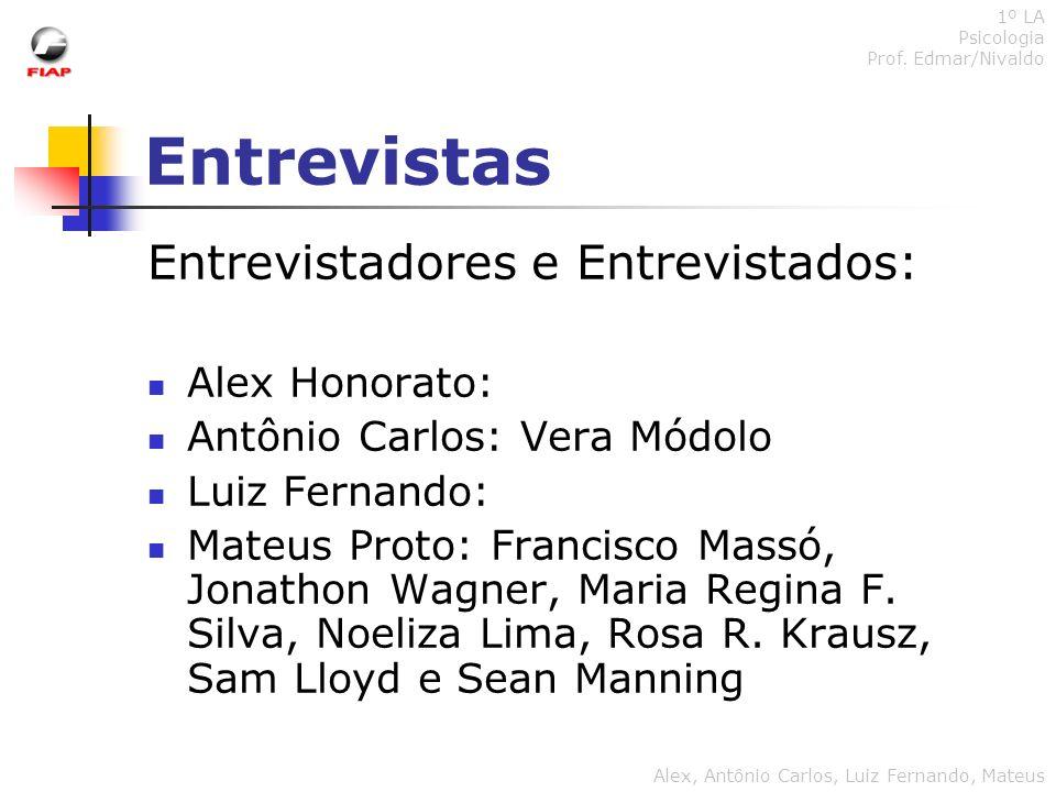 Entrevistas Entrevistadores e Entrevistados: Alex Honorato:
