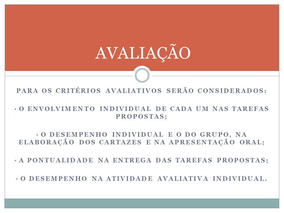 AVALIAÇÃO PARA OS CRITÉRIOS AVALIATIVOS SERÃO CONSIDERADOS: