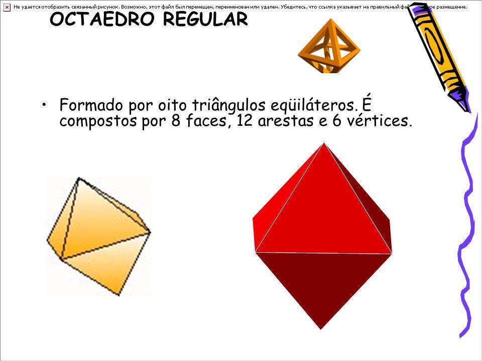 OCTAEDRO REGULAR Formado por oito triângulos eqüiláteros.