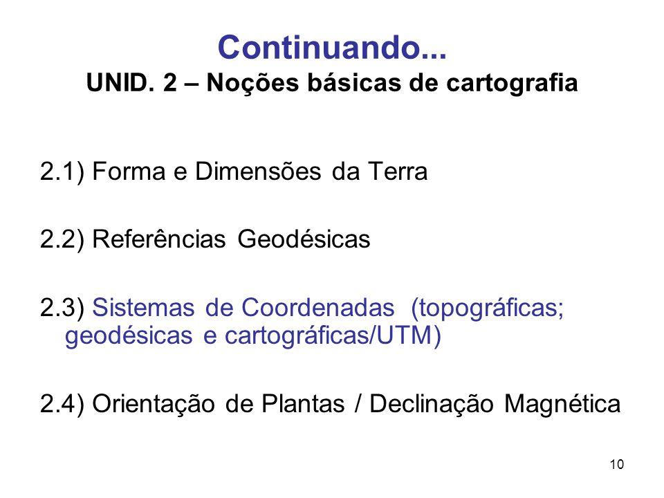 Continuando... UNID. 2 – Noções básicas de cartografia
